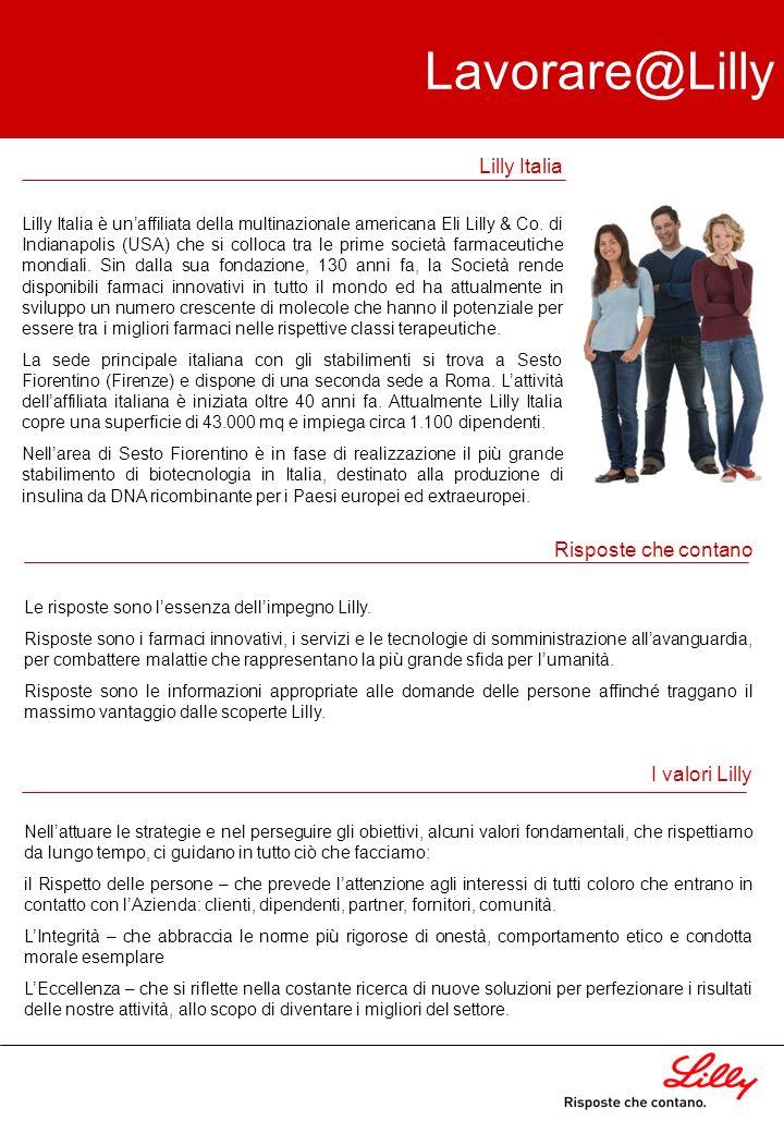 Lavorare@Lilly La carriera in Lilly Uno dei valori basilari per noi in Lilly è il rispetto delle persone, inteso come attenzione agli interessi di tutti coloro che entrano in contatto con l´azienda: clienti, dipendenti, fornitori e comunità.