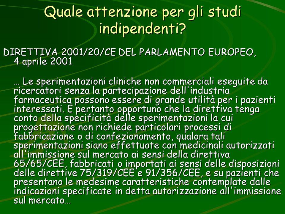 Quale attenzione per gli studi indipendenti? DIRETTIVA 2001/20/CE DEL PARLAMENTO EUROPEO, 4 aprile 2001 … Le sperimentazioni cliniche non commerciali