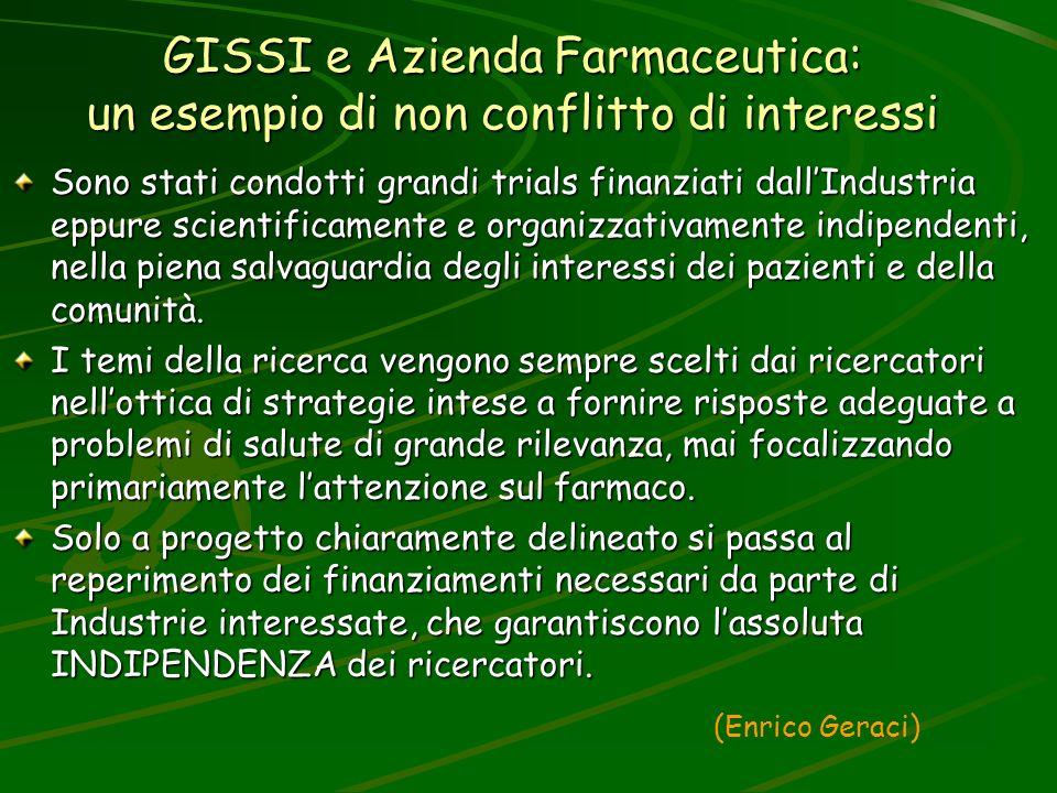GISSI e Azienda Farmaceutica: un esempio di non conflitto di interessi Sono stati condotti grandi trials finanziati dallIndustria eppure scientificame