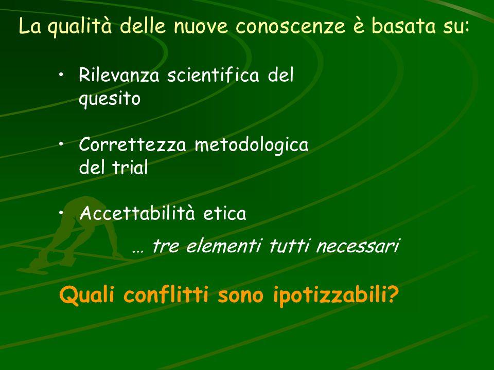 La qualità delle nuove conoscenze è basata su: Rilevanza scientifica del quesito Correttezza metodologica del trial Accettabilità etica … tre elementi