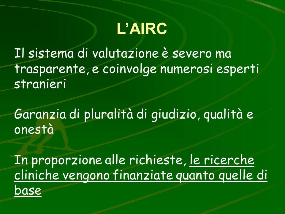 LAIRC Il sistema di valutazione è severo ma trasparente, e coinvolge numerosi esperti stranieri Garanzia di pluralità di giudizio, qualità e onestà In