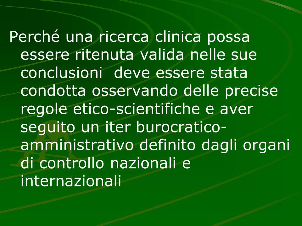 Perché una ricerca clinica possa essere ritenuta valida nelle sue conclusioni deve essere stata condotta osservando delle precise regole etico-scienti