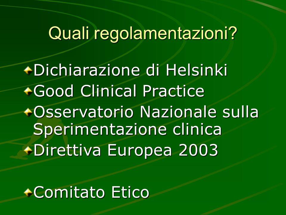 Quali regolamentazioni? Dichiarazione di Helsinki Good Clinical Practice Osservatorio Nazionale sulla Sperimentazione clinica Direttiva Europea 2003 C