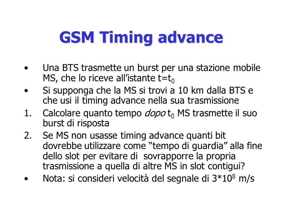 GSM Timing advance Una BTS trasmette un burst per una stazione mobile MS, che lo riceve allistante t=t 0 Si supponga che la MS si trovi a 10 km dalla