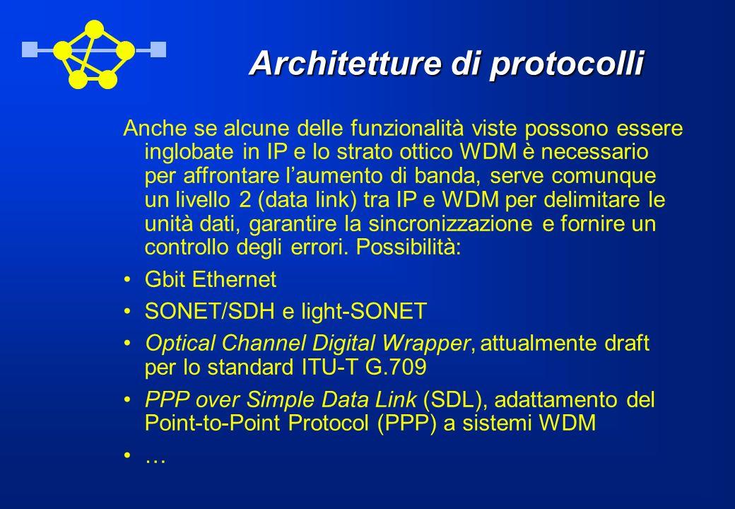 Architetture di protocolli Anche se alcune delle funzionalità viste possono essere inglobate in IP e lo strato ottico WDM è necessario per affrontare