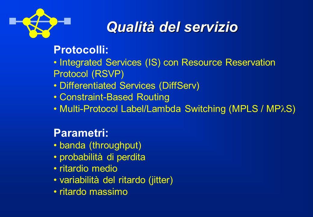 Qualità del servizio Protocolli: Integrated Services (IS) con Resource Reservation Protocol (RSVP) Differentiated Services (DiffServ) Constraint-Based