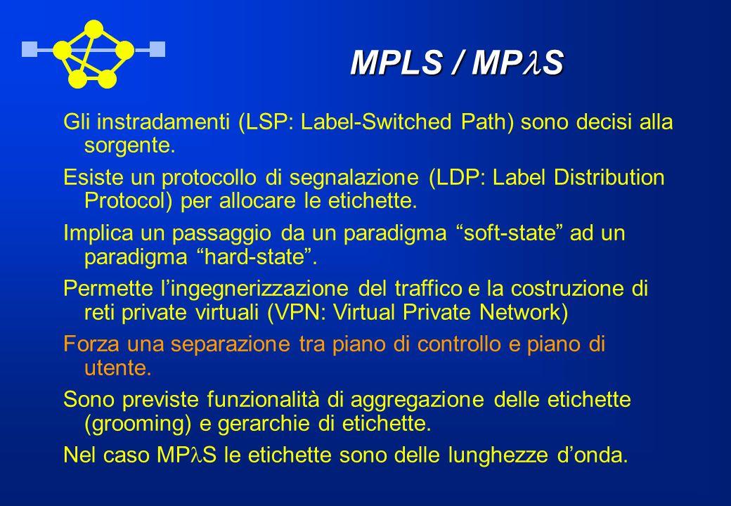 MPLS / MP S Gli instradamenti (LSP: Label-Switched Path) sono decisi alla sorgente. Esiste un protocollo di segnalazione (LDP: Label Distribution Prot