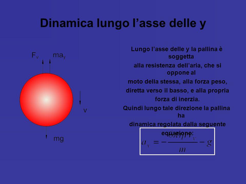 Dinamica lungo lasse delle y Lungo lasse delle y la pallina è soggetta alla resistenza dellaria, che si oppone al moto della stessa, alla forza peso,