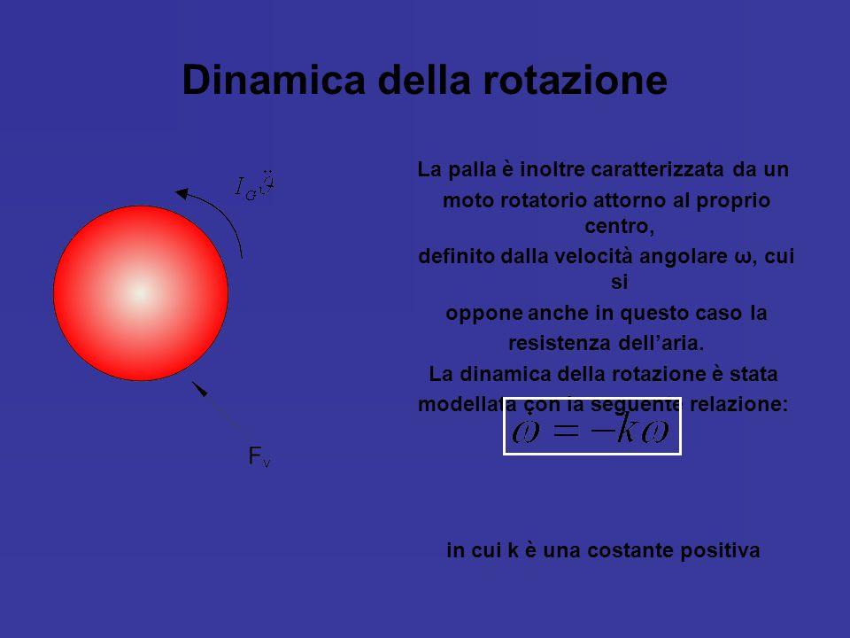 Dinamica della rotazione La palla è inoltre caratterizzata da un moto rotatorio attorno al proprio centro, definito dalla velocità angolare ω, cui si