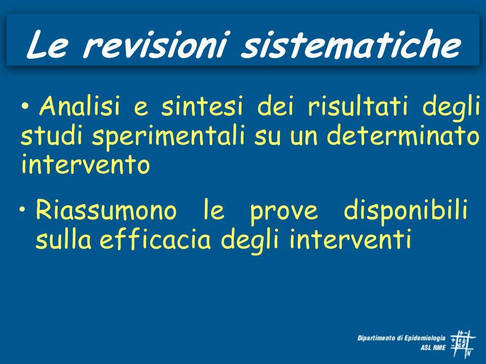 Le revisioni sistematiche Riassumono le prove disponibili sulla efficacia degli interventi Analisi e sintesi dei risultati degli studi sperimentali su un determinato intervento