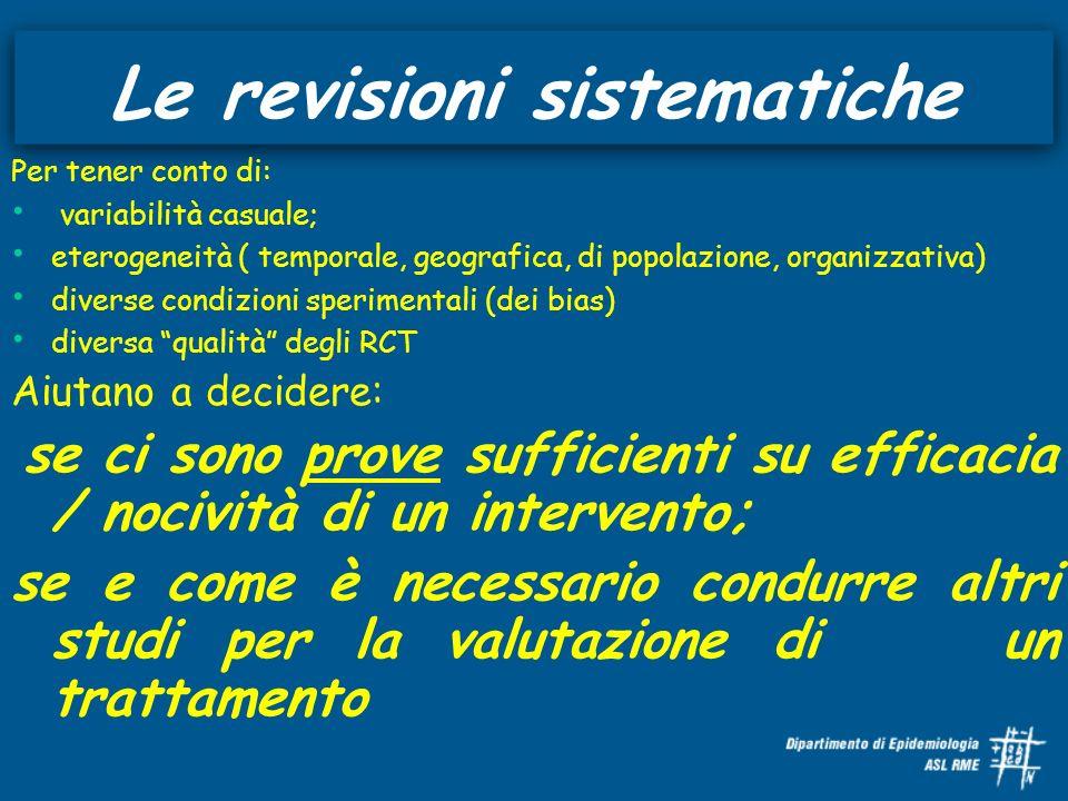 Le revisioni sistematiche Per tener conto di: variabilità casuale; eterogeneità ( temporale, geografica, di popolazione, organizzativa) diverse condiz