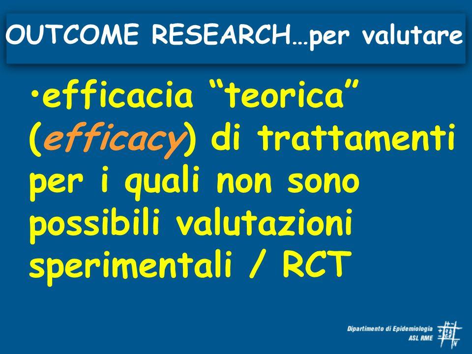 efficacia teorica (efficacy) di trattamenti per i quali non sono possibili valutazioni sperimentali / RCT OUTCOME RESEARCH…per valutare