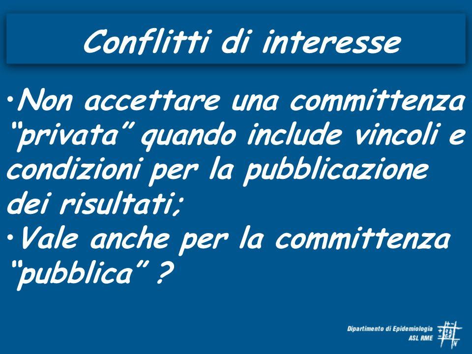 Conflitti di interesse Non accettare una committenza privata quando include vincoli e condizioni per la pubblicazione dei risultati; Vale anche per la committenza pubblica