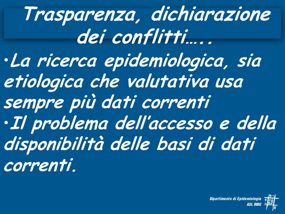 Trasparenza, dichiarazione dei conflitti….. La ricerca epidemiologica, sia etiologica che valutativa usa sempre più dati correnti Il problema dellacce