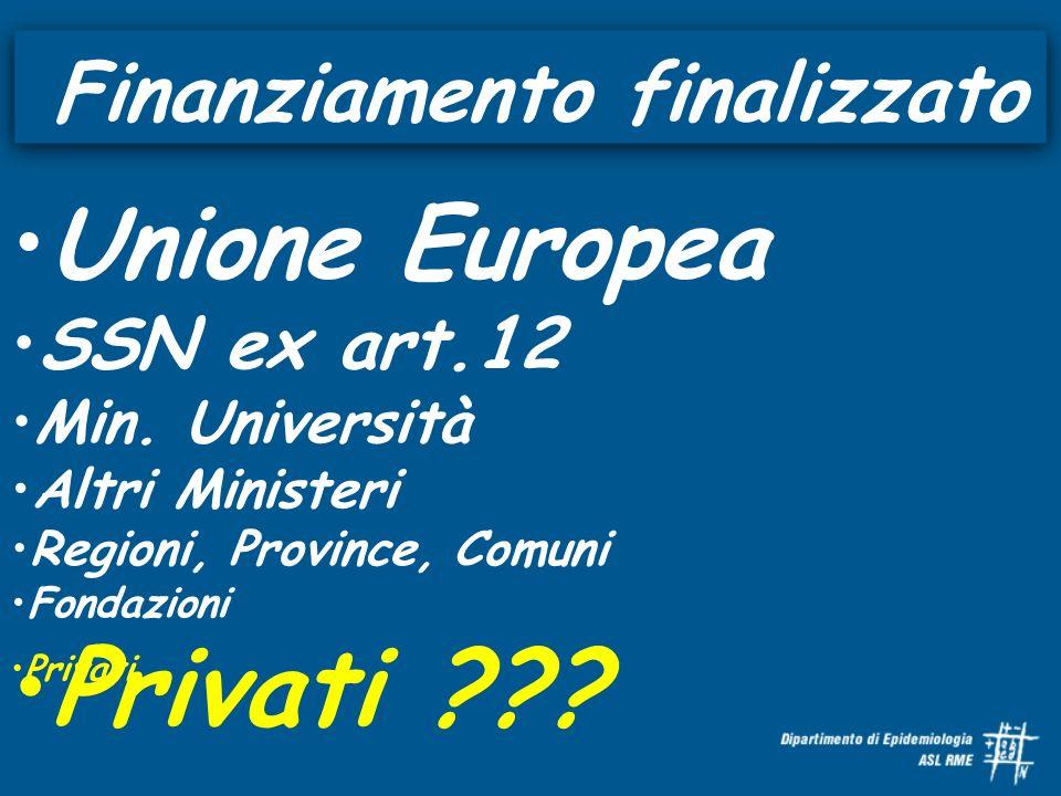 Finanziamento finalizzato Unione Europea SSN ex art.12 Min. Università Altri Ministeri Regioni, Province, Comuni Fondazioni Privati Privati ???
