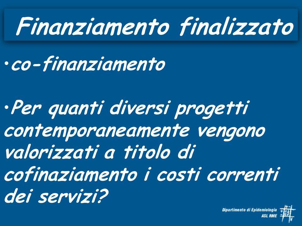 Finanziamento finalizzato co-finanziamento Per quanti diversi progetti contemporaneamente vengono valorizzati a titolo di cofinaziamento i costi correnti dei servizi
