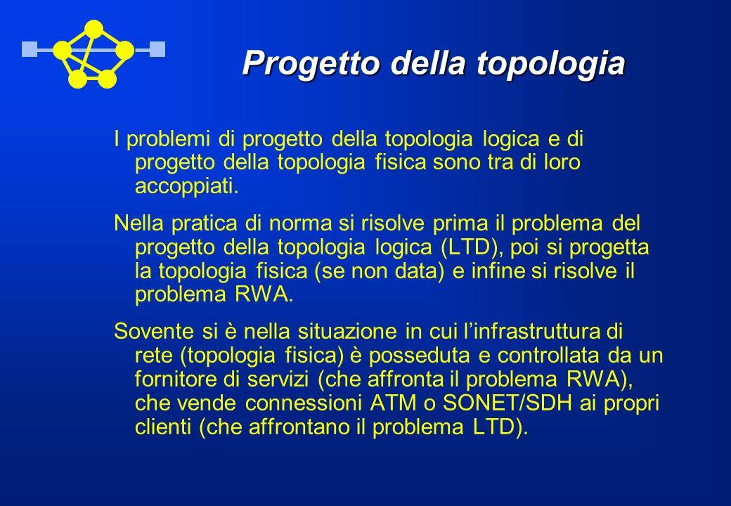Progetto della topologia I problemi di progetto della topologia logica e di progetto della topologia fisica sono tra di loro accoppiati. Nella pratica
