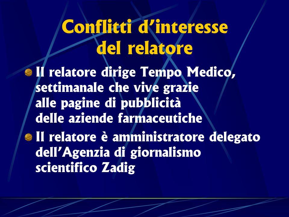 Conflitti dinteresse del relatore Il relatore dirige Tempo Medico, settimanale che vive grazie alle pagine di pubblicità delle aziende farmaceutiche I
