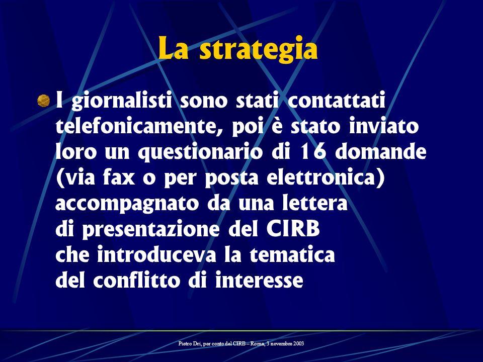 La strategia I giornalisti sono stati contattati telefonicamente, poi è stato inviato loro un questionario di 16 domande (via fax o per posta elettron