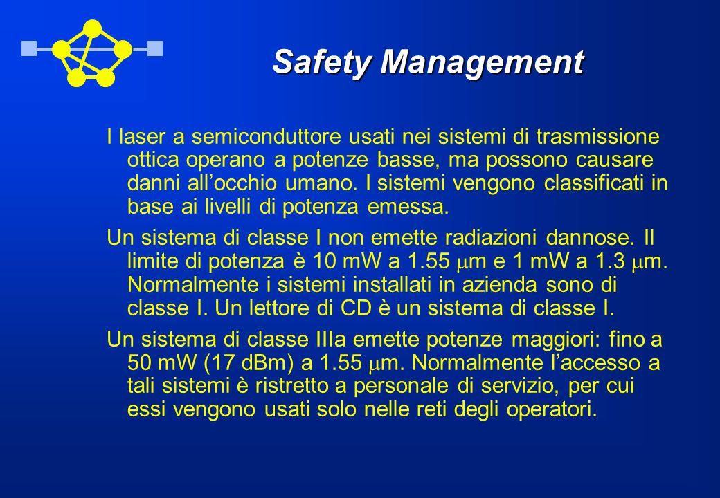 Safety Management I laser a semiconduttore usati nei sistemi di trasmissione ottica operano a potenze basse, ma possono causare danni allocchio umano.