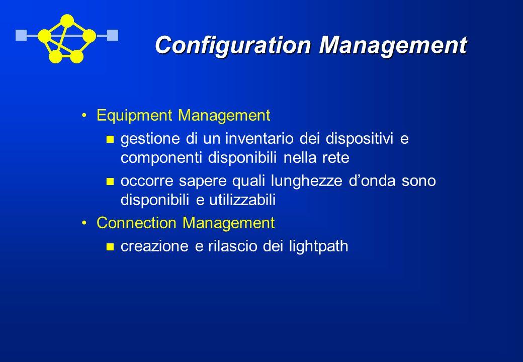 Configuration Management Equipment Management gestione di un inventario dei dispositivi e componenti disponibili nella rete occorre sapere quali lunghezze donda sono disponibili e utilizzabili Connection Management creazione e rilascio dei lightpath