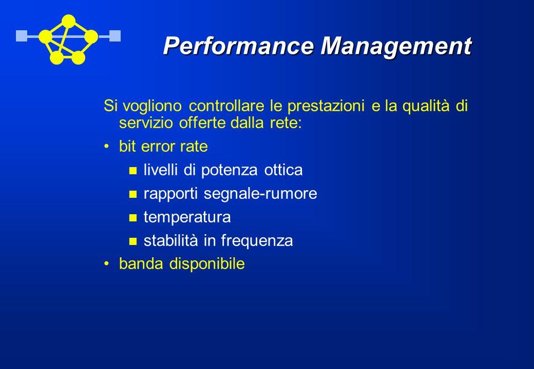 Performance Management Si vogliono controllare le prestazioni e la qualità di servizio offerte dalla rete: bit error rate livelli di potenza ottica rapporti segnale-rumore temperatura stabilità in frequenza banda disponibile
