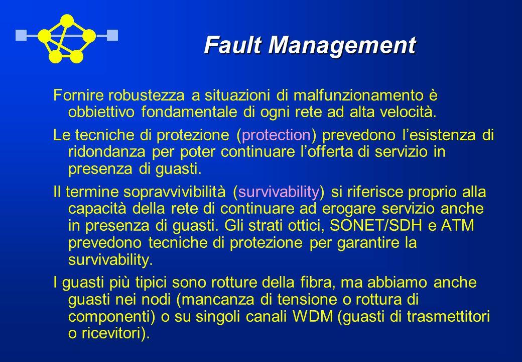 Fault Management Fornire robustezza a situazioni di malfunzionamento è obbiettivo fondamentale di ogni rete ad alta velocità.