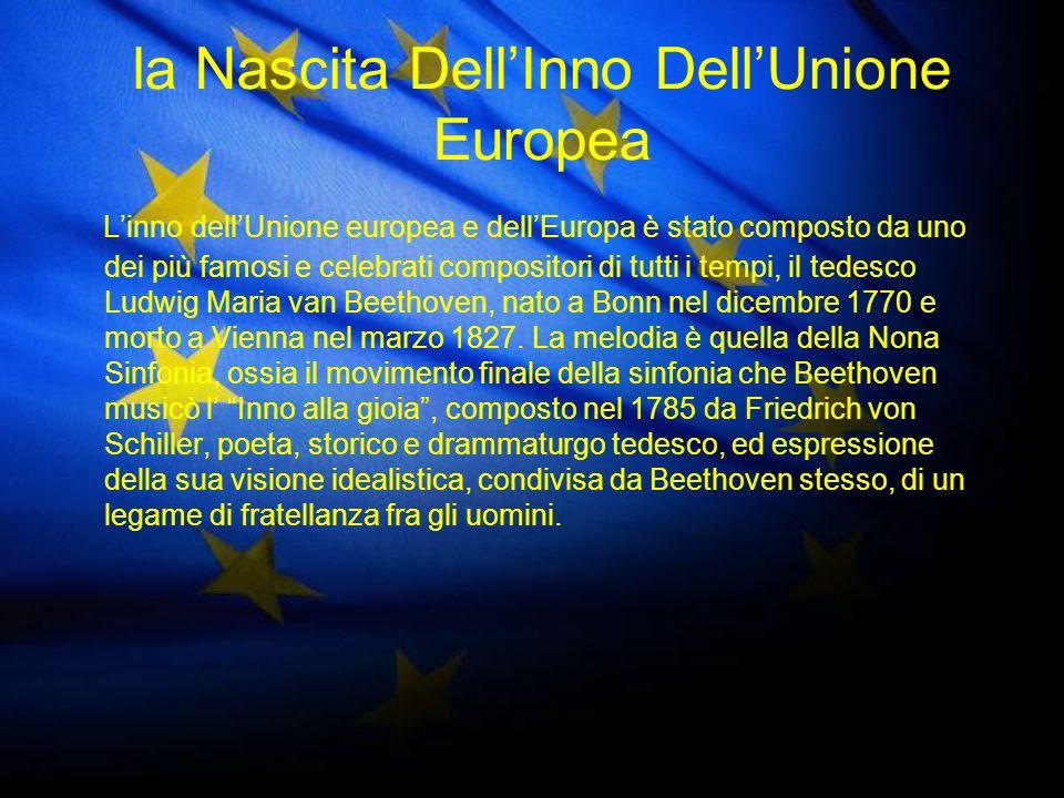 Il consiglio deuropa sceglie linno Nel 1972 il Consiglio d Europa (il medesimo organismo che concepì la bandiera europea) adottò il tema dell Inno alla gioia di Beethoven come proprio inno.