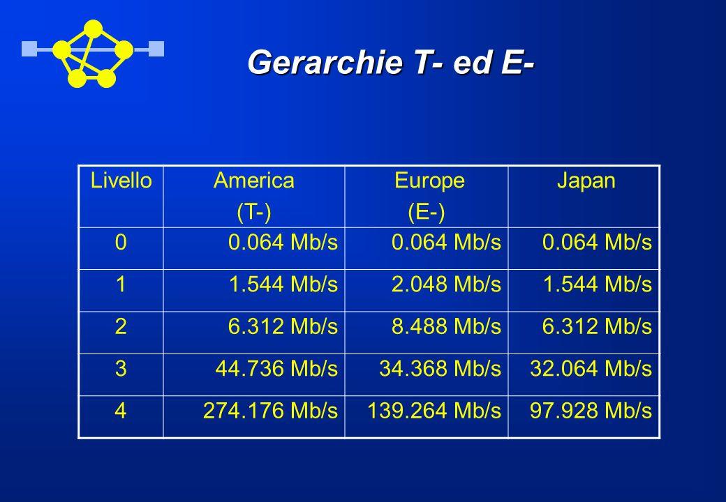 Gerarchie T- ed E- LivelloAmerica (T-) Europe (E-) Japan 00.064 Mb/s 11.544 Mb/s2.048 Mb/s1.544 Mb/s 26.312 Mb/s8.488 Mb/s6.312 Mb/s 344.736 Mb/s34.36