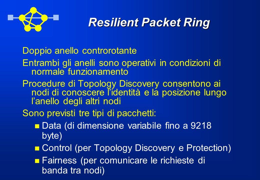 Resilient Packet Ring Doppio anello controrotante Entrambi gli anelli sono operativi in condizioni di normale funzionamento Procedure di Topology Disc