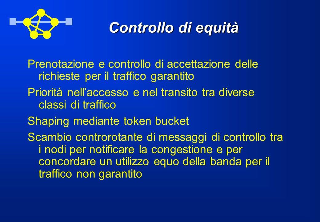 Controllo di equità Prenotazione e controllo di accettazione delle richieste per il traffico garantito Priorità nellaccesso e nel transito tra diverse