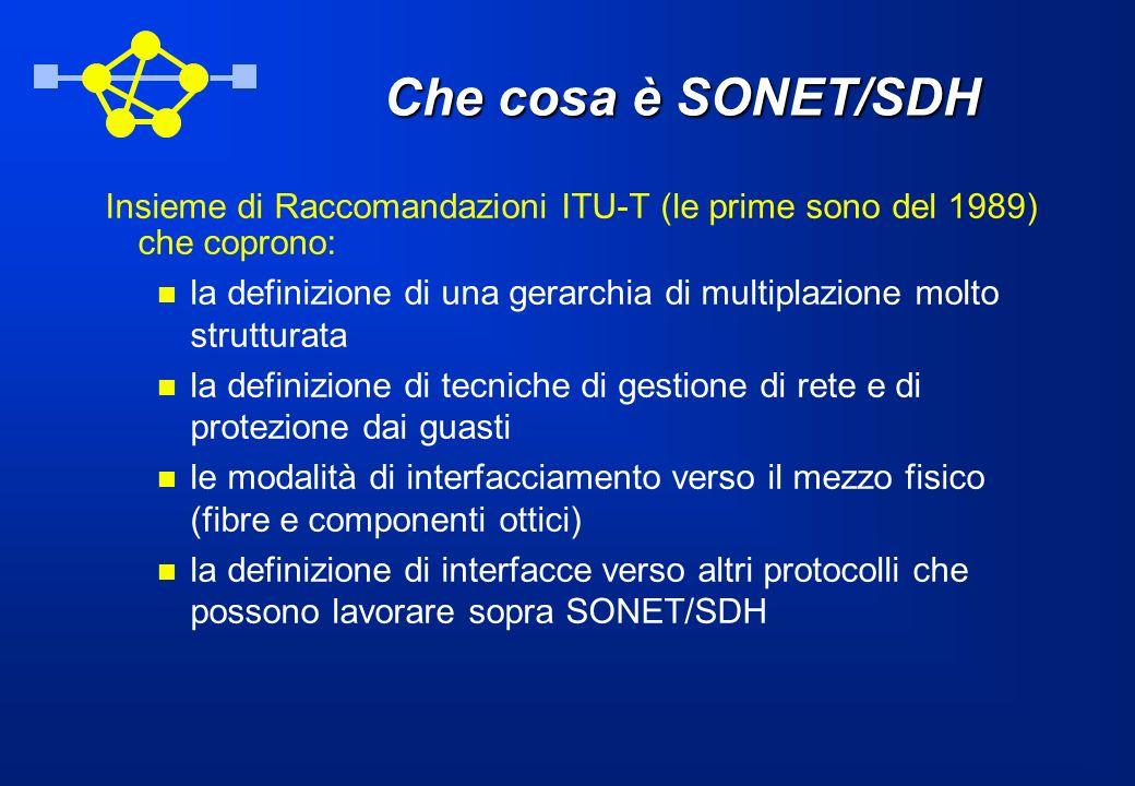 Che cosa è SONET/SDH Insieme di Raccomandazioni ITU-T (le prime sono del 1989) che coprono: la definizione di una gerarchia di multiplazione molto str