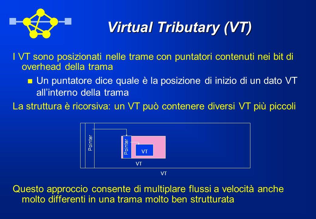 Virtual Tributary (VT) I VT sono posizionati nelle trame con puntatori contenuti nei bit di overhead della trama Un puntatore dice quale è la posizion