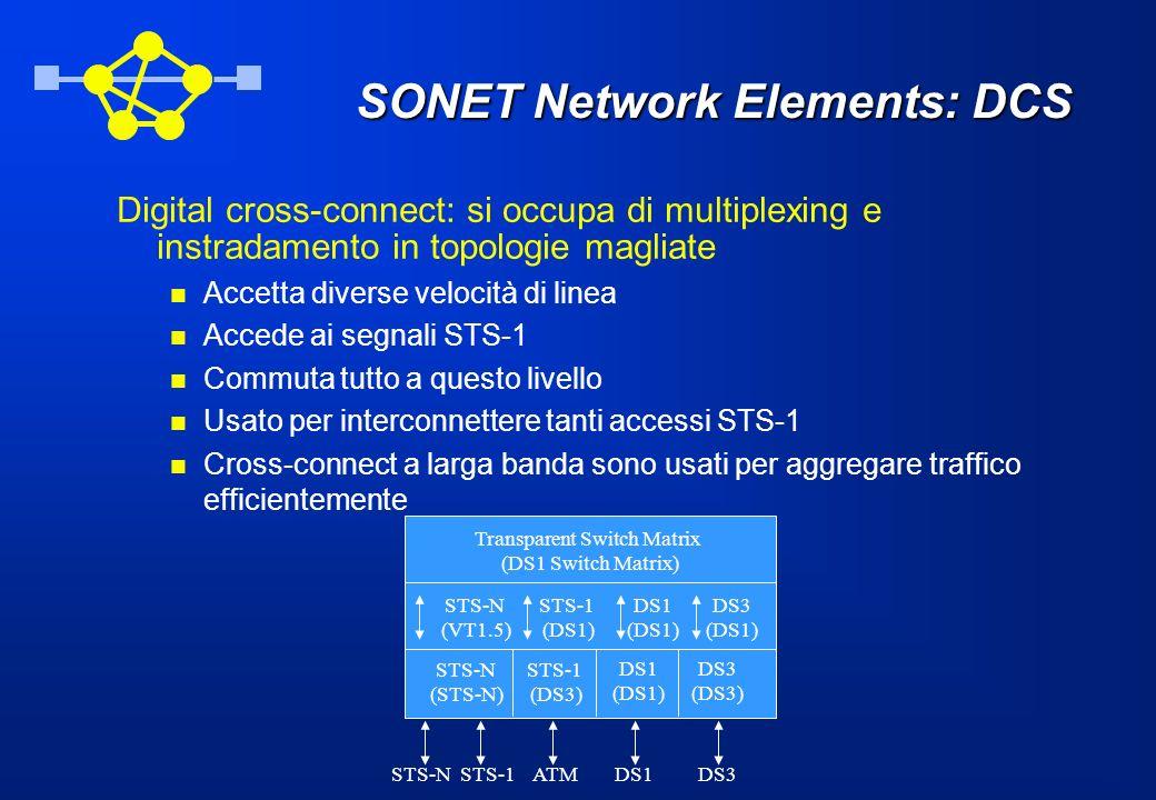 SONET Network Elements: DCS Digital cross-connect: si occupa di multiplexing e instradamento in topologie magliate Accetta diverse velocità di linea A