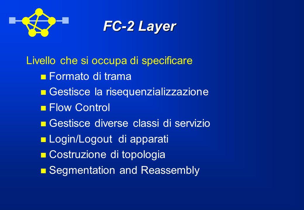 FC-2 Layer Livello che si occupa di specificare Formato di trama Gestisce la risequenzializzazione Flow Control Gestisce diverse classi di servizio Lo