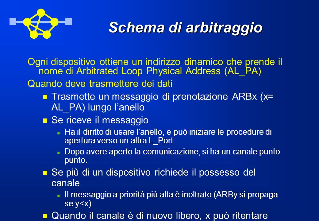 Schema di arbitraggio Ogni dispositivo ottiene un indirizzo dinamico che prende il nome di Arbitrated Loop Physical Address (AL_PA) Quando deve trasme