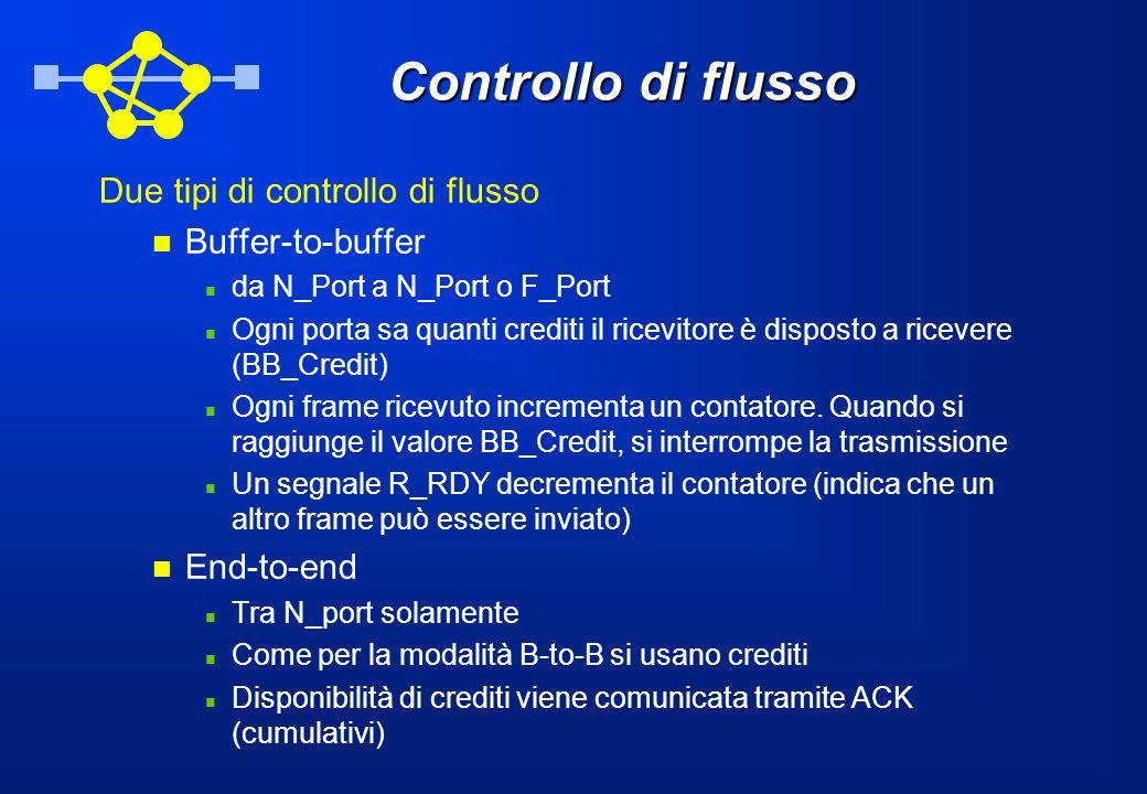 Controllo di flusso Due tipi di controllo di flusso Buffer-to-buffer da N_Port a N_Port o F_Port Ogni porta sa quanti crediti il ricevitore è disposto