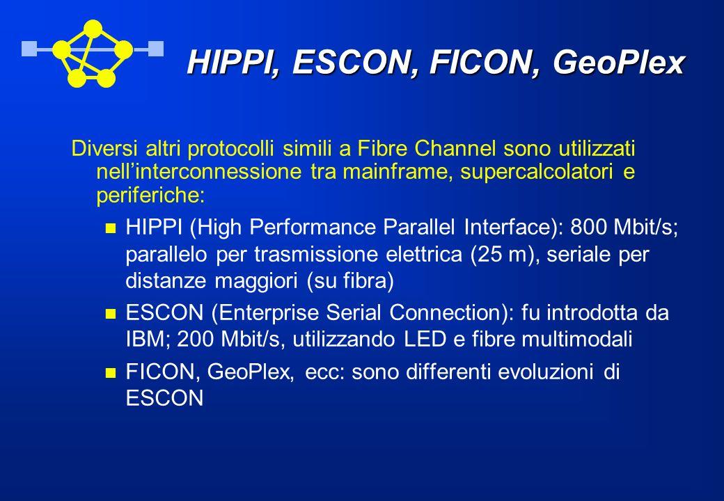 HIPPI, ESCON, FICON, GeoPlex Diversi altri protocolli simili a Fibre Channel sono utilizzati nellinterconnessione tra mainframe, supercalcolatori e pe