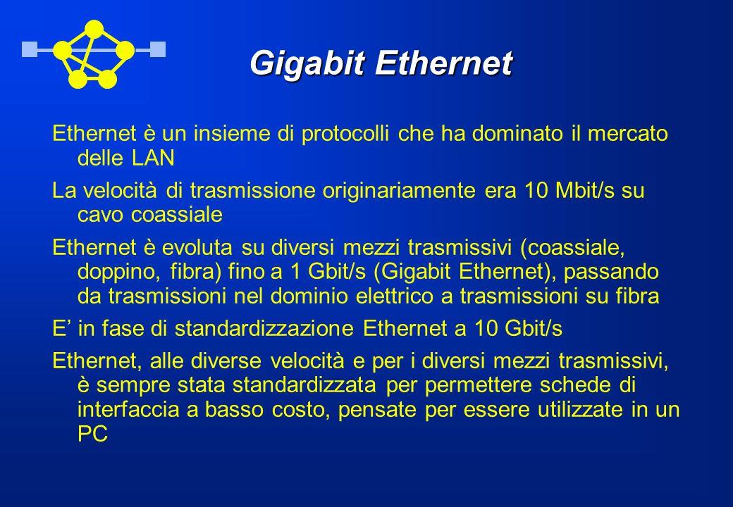 Gigabit Ethernet Ethernet è un insieme di protocolli che ha dominato il mercato delle LAN La velocità di trasmissione originariamente era 10 Mbit/s su