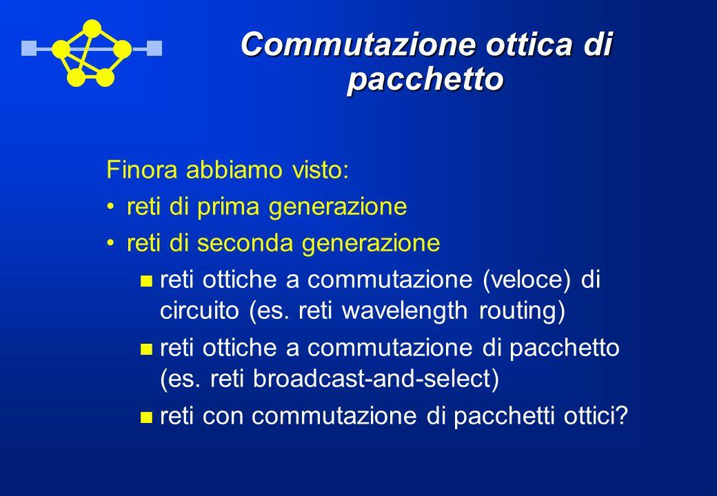 Commutazione ottica di pacchetto Finora abbiamo visto: reti di prima generazione reti di seconda generazione reti ottiche a commutazione (veloce) di circuito (es.