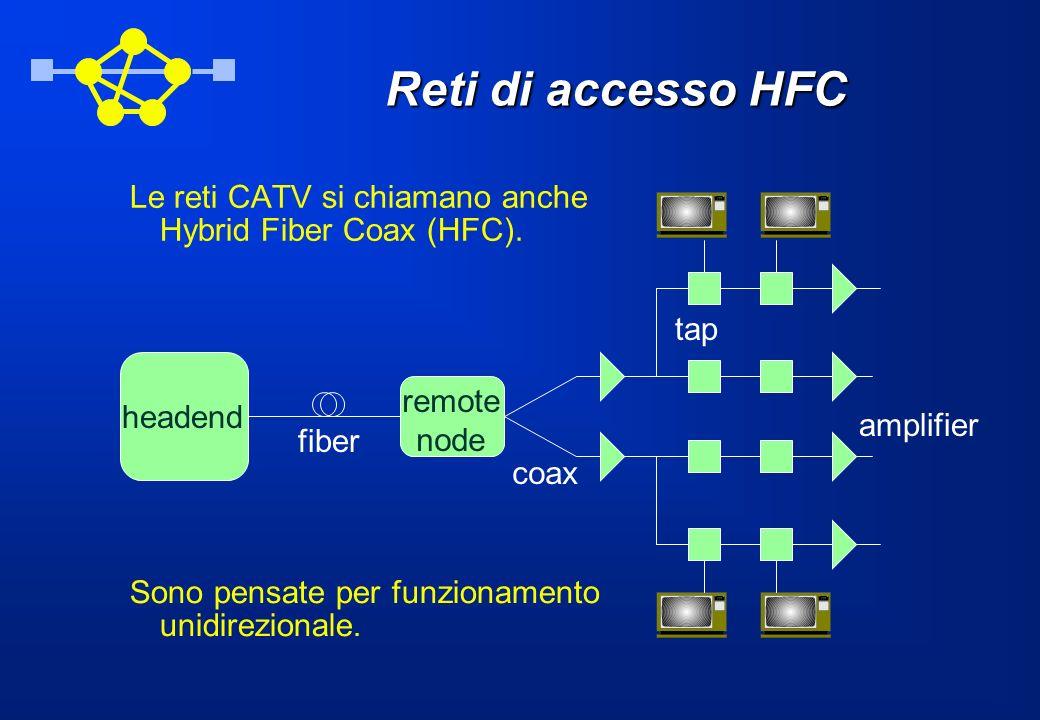 Reti di accesso HFC Le reti CATV si chiamano anche Hybrid Fiber Coax (HFC). headend remote node fiber coax amplifier tap Sono pensate per funzionament