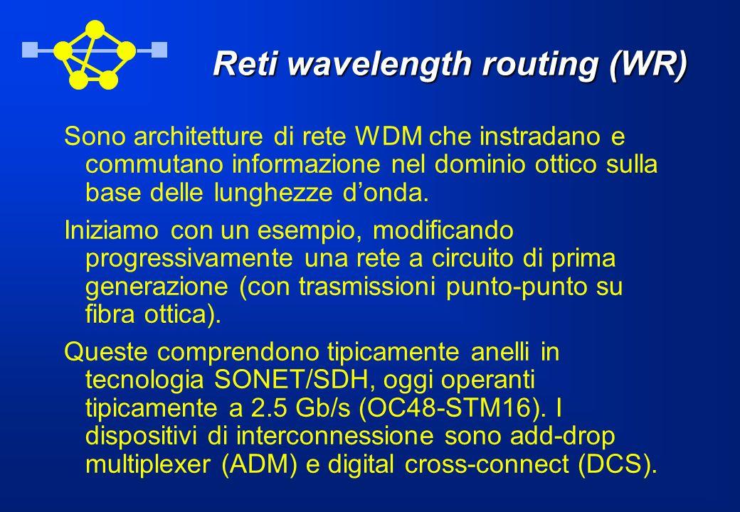 Reti wavelength routing (WR) Sono architetture di rete WDM che instradano e commutano informazione nel dominio ottico sulla base delle lunghezze donda