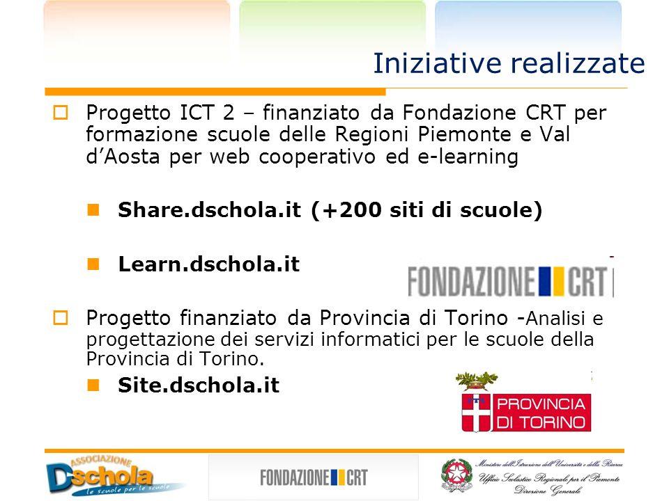 Iniziative realizzate Progetto ICT 2 – finanziato da Fondazione CRT per formazione scuole delle Regioni Piemonte e Val dAosta per web cooperativo ed e-learning Share.dschola.it (+200 siti di scuole) Learn.dschola.it Progetto finanziato da Provincia di Torino - Analisi e progettazione dei servizi informatici per le scuole della Provincia di Torino.