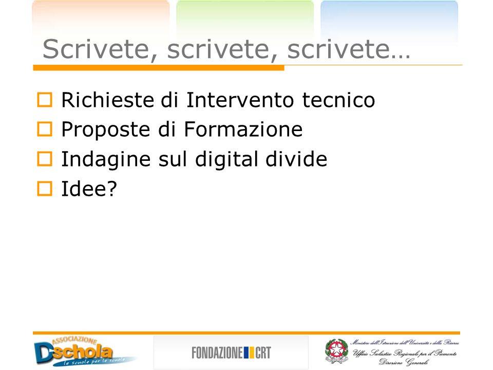 Richieste di Intervento tecnico Proposte di Formazione Indagine sul digital divide Idee.