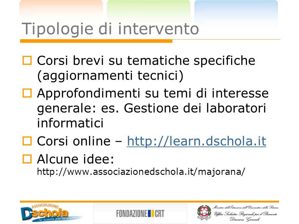 Tipologie di intervento Corsi brevi su tematiche specifiche (aggiornamenti tecnici) Approfondimenti su temi di interesse generale: es.