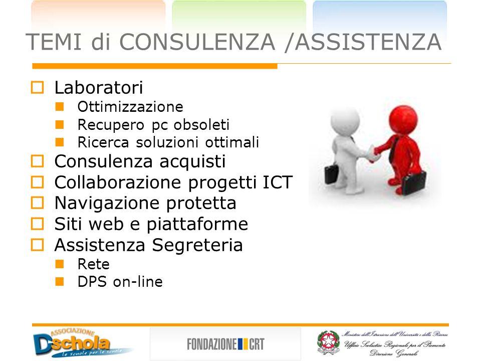 TEMI di CONSULENZA /ASSISTENZA Laboratori Ottimizzazione Recupero pc obsoleti Ricerca soluzioni ottimali Consulenza acquisti Collaborazione progetti I