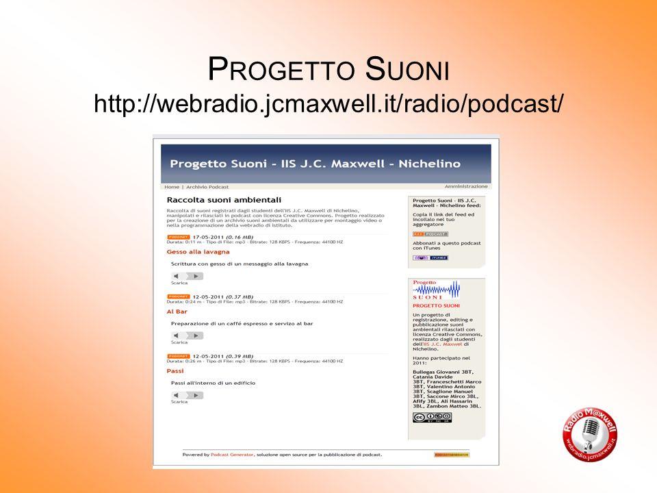 P ROGETTO S UONI http://webradio.jcmaxwell.it/radio/podcast/