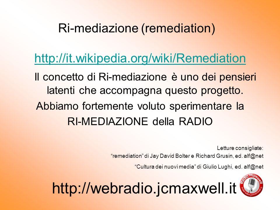 http://it.wikipedia.org/wiki/Remediation Il concetto di Ri-mediazione è uno dei pensieri latenti che accompagna questo progetto.