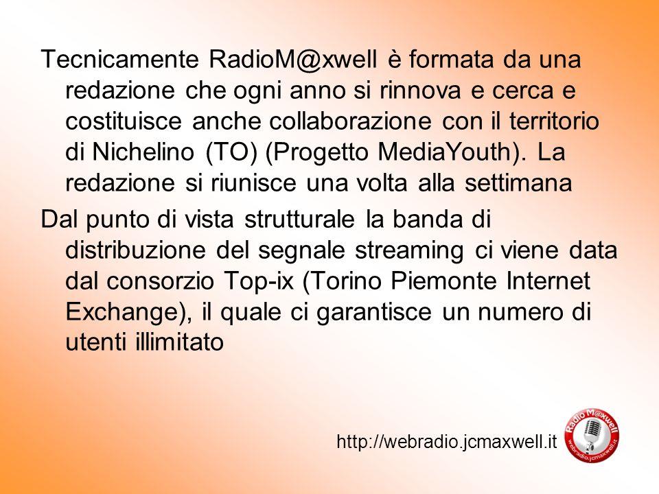 Tecnicamente RadioM@xwell è formata da una redazione che ogni anno si rinnova e cerca e costituisce anche collaborazione con il territorio di Nichelino (TO) (Progetto MediaYouth).