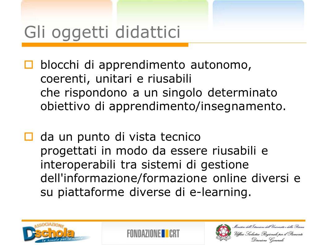 Gli oggetti didattici blocchi di apprendimento autonomo, coerenti, unitari e riusabili che rispondono a un singolo determinato obiettivo di apprendime